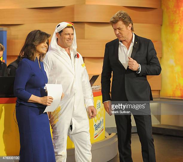 Lisa Wilkinson Karl Stefanovic and Richard Wilkins after Karl's attempt at the egg breaking world record during the 2015 Gold Telethon on June 8 2015...