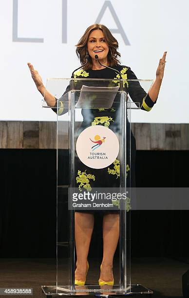 Lisa Wilkinson speaks at the Restaurant Australia Marketplace event at Macquarie Wharf on November 14 2014 in Hobart Australia The Restaurant...