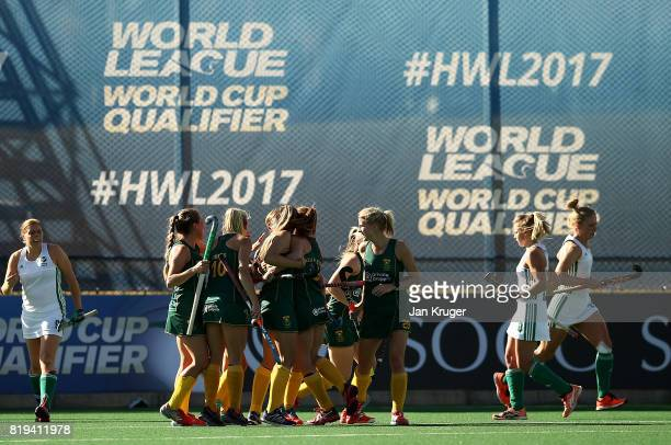 LisaMarie Deetlefs of South Africa celebrates her goal with team mates during the 5th/ 8th place playoff match between South Africa and Ireland at...