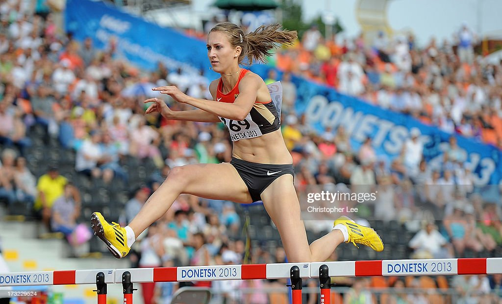 Lisa-Marie Jacoby of Germany in the Girls 400m Hurdles Round 1 during Day 1 of the IAAF World Youth Championships at the RSC Olimpiyskiy Stadium on July 10, 2013 in Donetsk, Ukraine.