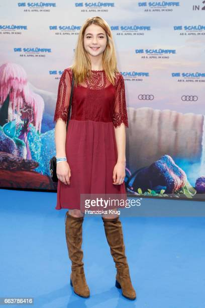 LisaMarie Koroll attends 'Die Schluempfe Das verlorene Dorf' Berlin Premiere at Sony Centre on April 2 2017 in Berlin Germany