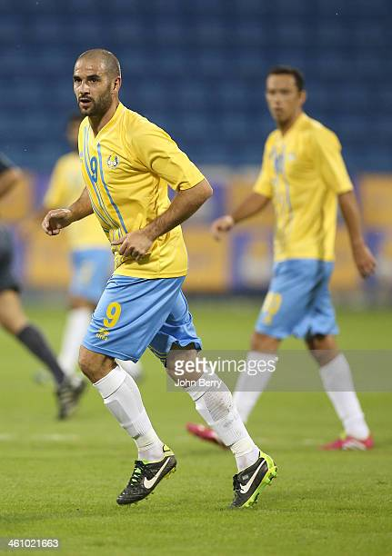 Lisandro Lopez and Anderson Luiz Nene of Al Gharafa in action during the friendly match between Al Gharafa SC and Schalke 04 at the Al Gharafa...