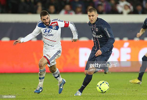 Lisandro Lopez of Lyon and Jeremy Menez of PSG in action during the French Ligue 1 match between Paris Saint Germain FC and Olympique Lyonnais OL at...