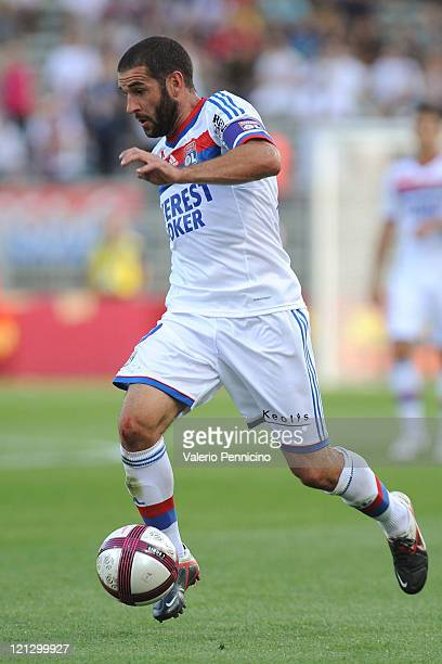 Lisandro Lopez of Olympique Lyonnais in action during the Ligue 1 match between Olympique Lyonnais and AC Ajaccio at Gerland Stadium on August 13...