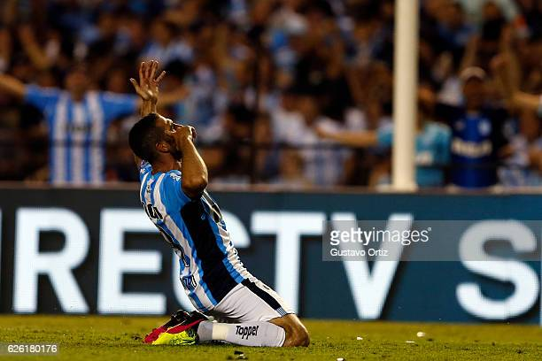 Lisandro Lopez of Racing Club celebrates after scoring the first goal of his team during a match between Racing Club and Independiente as part of...