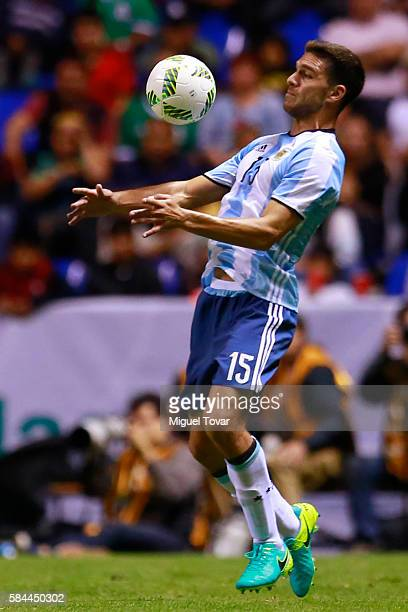 Lisandro Magallan of Argentina controls the ball during an U23 International Friendly between Mexico and Argentina at Cuauhtemoc Stadium on July 28...