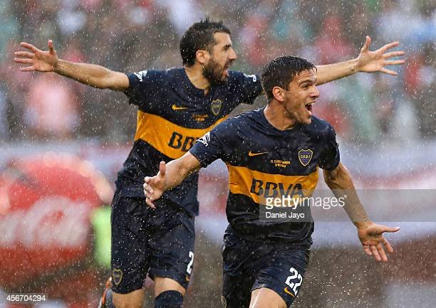 Lisandro Magallan of Boca Juniors celebrates after scoring the first goal of his team during a match between River Plate and Boca Juniors as part of...