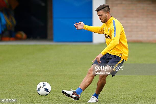 Lisandro Magallan of Boca Juniors kicks the ball during a Boca Juniors training session at Complejo Pedro Pompilio on October 05 2016 in Buenos Aires...