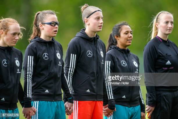 Lisanne Grawe Julia Pollak goalkeeper Carlotta Pauline Nelles and Gia Corley of Germany line up during the national anthem prior to the Under 15...