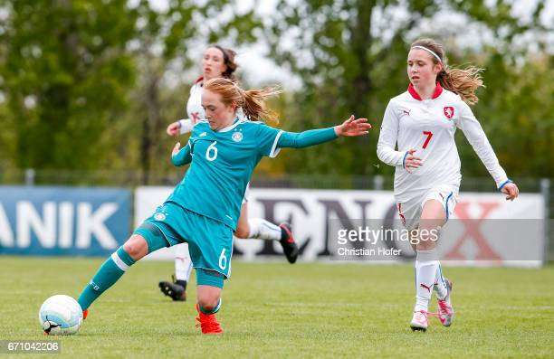 Lisanne Grawe of Germany challenges Katerina Furikova of Czech Republic for the ball during the Under 15 girls international friendly match between...