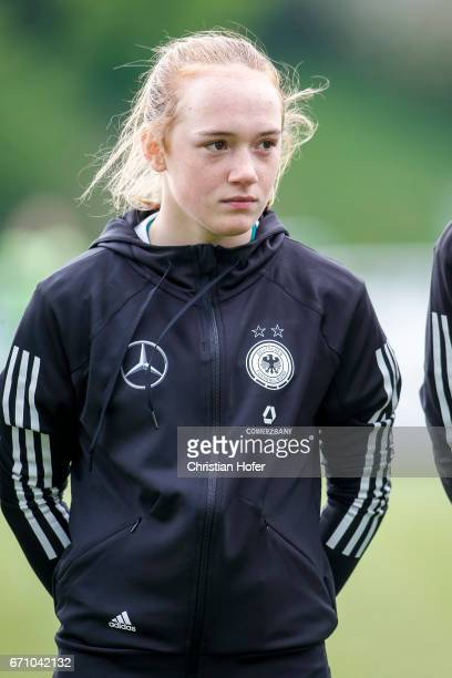 Lisanne Grawe of Germany is seen during the national anthem prior to the Under 15 girls international friendly match between Czech Republic and...