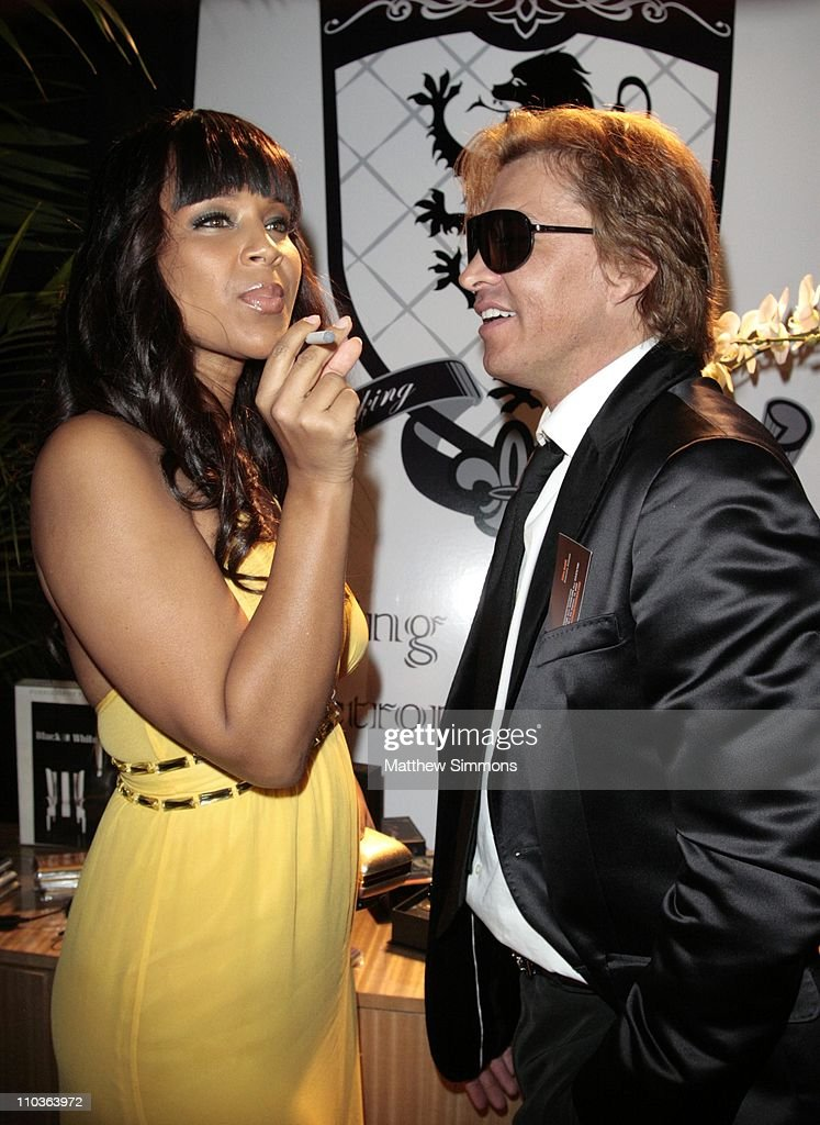 LisaRaye and Smoking Everywhere Co-Owner Ferdinand Bare at the Smoking Everywhere booth backstage at the NAACP Image Awards at the Shrine Auditorium on February 12, 2009 in Los Angeles, California.