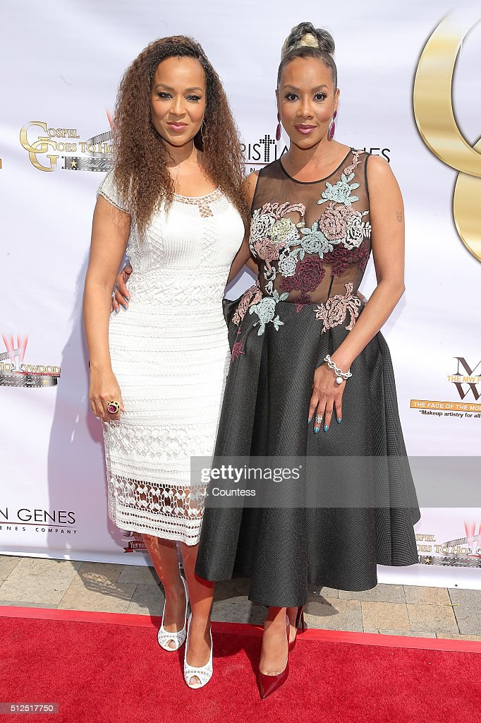 LisaRaye McCoy and Vivica A. Fox attend the Gospel Goes To Hollywood celebration at Vibiana on February 26, 2016 in Los Angeles, California.