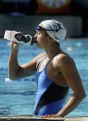 Lisbeth Lenton takes a drink during Australian Swim Team training at Monash Aquatic Centre March 08 2006 in Melbourne Australia The Australian team...