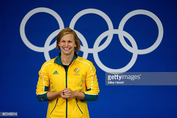 Lisbeth Trickett of Australia poses with the gold medal during the medal ceremony for the Women's 100m Butterfly held at the National Aquatics Center...
