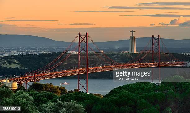 Lisbon bridge sunset