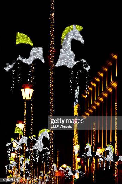 Lisbon - Christmas  lights decorations detail