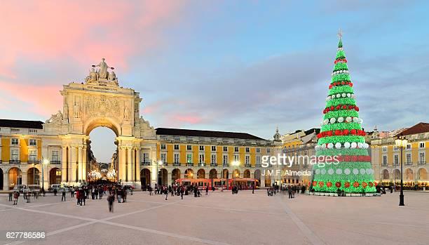 Lisbon - Christmas tree at sunset