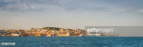 Lisbon city landmarks overlooking blue waterfront panorama Portugal