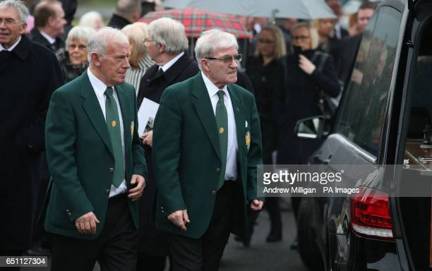 Lisbon Lions Bobby Lennox and Bertie Auld arriving for the funeral of Tommy Gemmell at Daldowie Crematorium in Uddingston South Lanarkshire