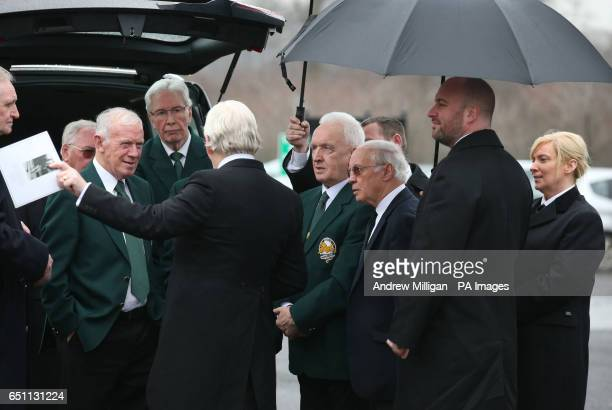 Lisbon Lions Bobby Lennox Jim Craig and John Clark with Willie Henderson arriving for the funeral of Tommy Gemmell at Daldowie Crematorium in...