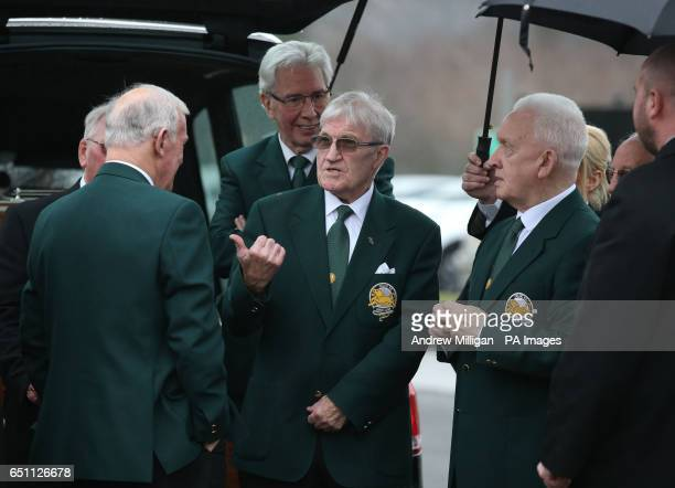 Lisbon Lions Bobby Lennox Jim Craig Bertie Auld and John Clark arriving for the funeral of Tommy Gemmell at Daldowie Crematorium in Uddingston South...