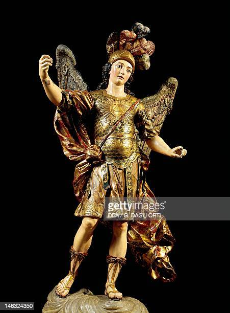 Lisbon Museu Nacional De Arte Antiga St Michael painted wooden statue Portuguese art 17th century
