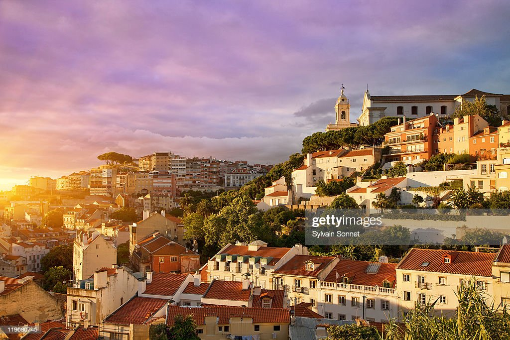 Lisbon, Old Town at Sunset : Stock Photo