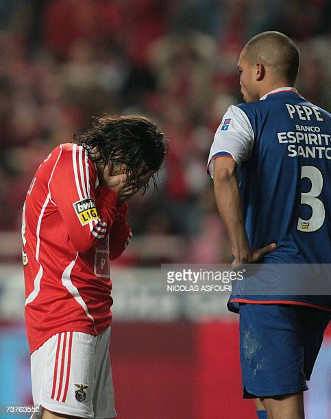 Benfica's Miccoli show his disappointment after he failed to score next to FC Porto's scorer Pepe during their Premier League football match at Luz...