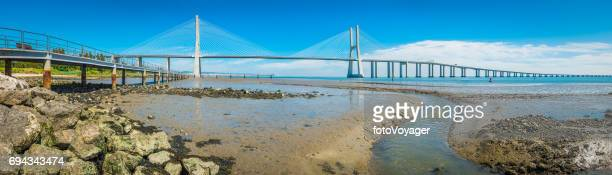 Lisbon Vasco da Gama Bridge over River Targus panorama Portugal