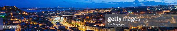 Lisbon vibrant illuminated cityscape super panorama Portugal