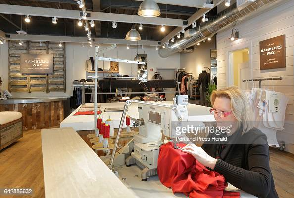 Lisette Lehouillier head seamstress at Ramblers Way works in the company's Portsmouth NH store which recently opened Lehouillier works in the store...