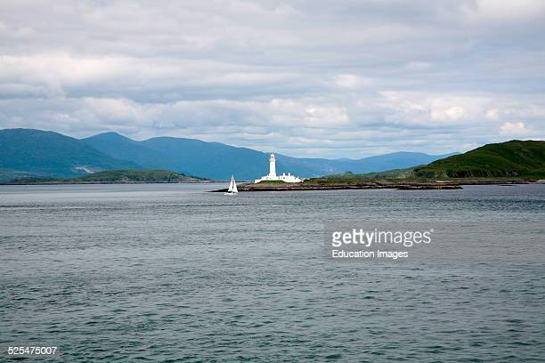 Lismore lighthouse on Eilean Musdile Firth of Lorne at the entrance to Loch Linnhe designed by Robert Stevenson 1833 Lismore Island Argyll and Bute...