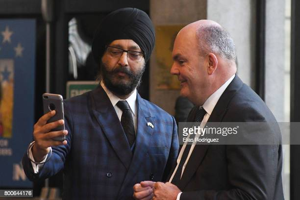 List MP Kanwaljt Singh Bakshi and Minister of Finance Infrastructure Hon Steven Joyce doing some social media during the National Party 81st Annual...