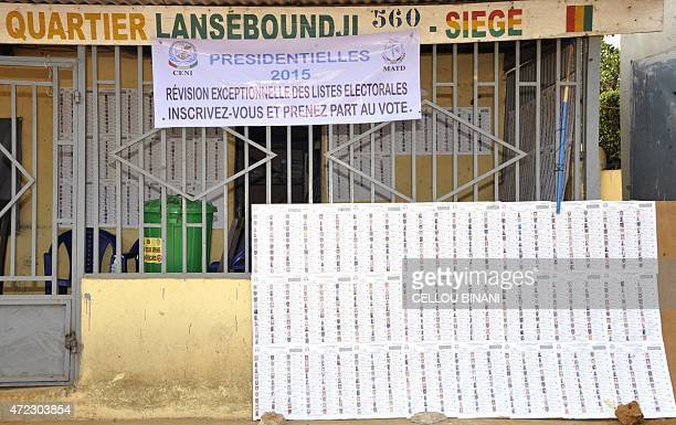 A list of candidates is made available by the electoral commission and displayed on a board in the capital Conekry on May 2 2015 With the Guinean...