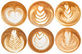 List of latte art shapes on white background isolated