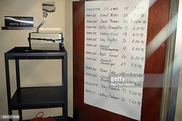 A list of victims' names and the dates of their murder hangs next to an overhead projector during the trial of serial killer Jeffrey Dahmer Dahmer...