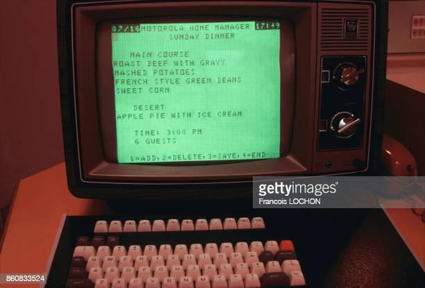 Liste de course sur l'écran d'un ordinateur équipant la Maison du Futur érigée par la Fondation Frank Lloyd Wright en Arizona et l'architecte Charles...