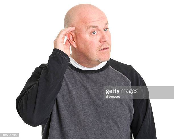Listening Man With Hand To Ear