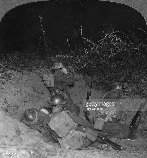 Listening post in a shell crater in No Man's Land near Lagnicourt France World War I c1914c1918 From a box set of stereoscopic cards titled 'The...