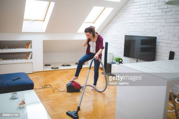 Listening to music while cleaning