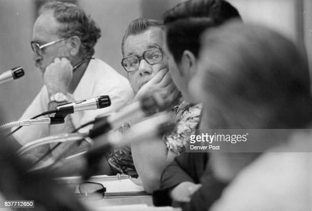 Listening to opposition is board member Ralph Thomson From left Jim Middleton Ralph Thompson Larry Trudell Charles Kowalis Credit Denver Post