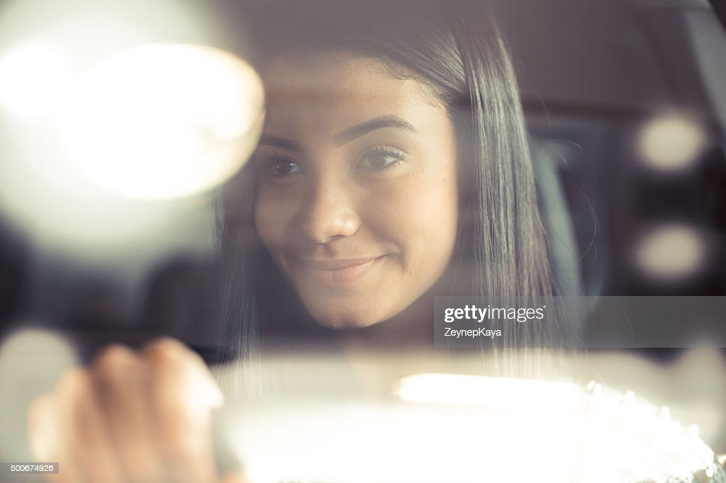 listenning a nice song in car : Stock Photo