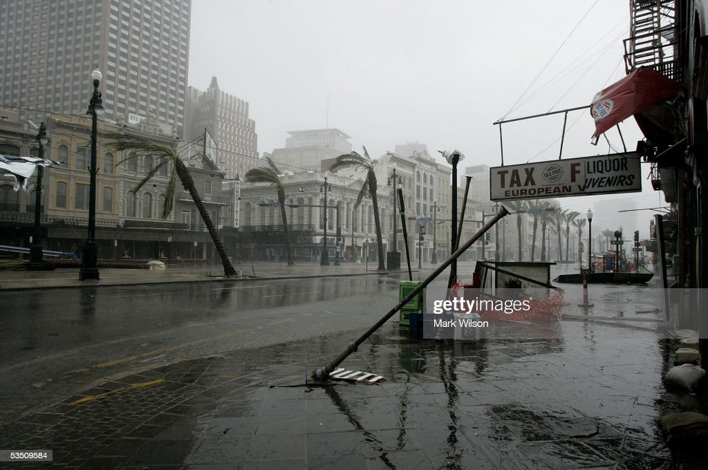 Listing palm trees and upended light poles are left in the wake of Hurricane Katrina August 29 2005 on Canal Street in New Orleans Louisiana Katrina...
