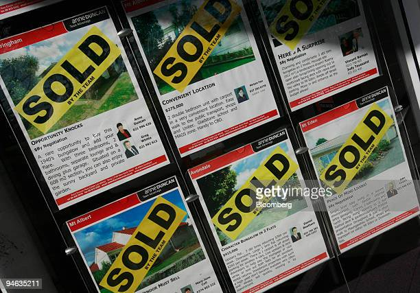 Listings of sold properties are displayed in the window of a real estate office in Auckland New Zealand on Monday June 11 2007 New Zealand house...