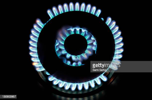 Lit blue double gas ring, close-up