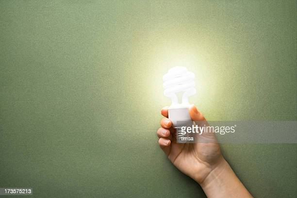 Lit CFL in hand