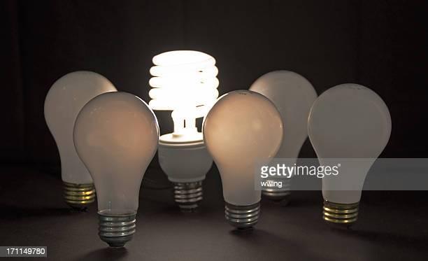 1 beleuchteten CFL-Glühbirne, umgeben von 5 unbeleuchtet funkelnden Glühbirnen