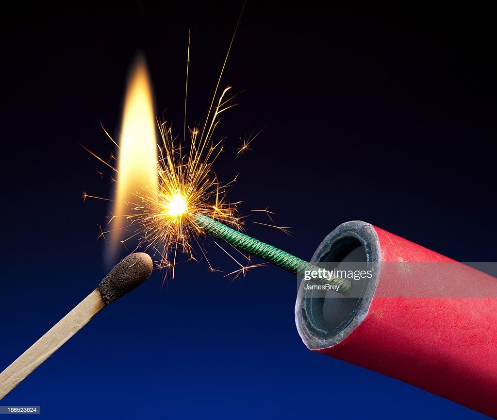 Lit Explosive Fuse Crackling and Sparking