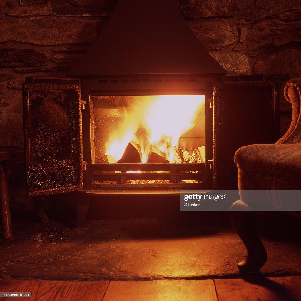 Lit fireplace, close-up